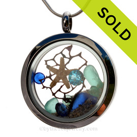 Islands  - Cobalt Blue and Aqua Genuine Sea Glass With Starfish & Crystals Gems In A Stainless Steel Locket