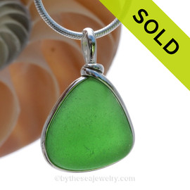 PERFECT Triangle of VIVID Green Genuine Sea Glass Pendant in our Original Wire Bezel© in Sterling Silver