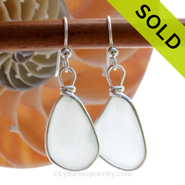 Perfect Pure White Larger Sea Glass Earrings in our Original Wire Bezel© setting in solid sterling silver. SOLD - Sorry these Sea Glass Earrings are NO LONGER AVAILABLE!