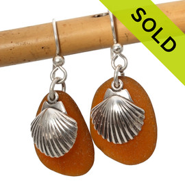Perfect genuine brown sea glass pieces combined with solid sterling shell charms. SOLD - Sorry these Sea Glass Earrings are NO LONGER AVAILABLE!