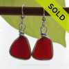 TOP QUALITY Ruby Red Genuine Sea Glass in our classic set our Original Wire Bezel© earring setting lets all the color of these beautiful gold set beach found sea glass pieces shine!  A beautiful match of deep Vivid Ruby Red sea glass from Puerto Rico. Red is the hope diamond of sea glasses and this perfect pair is a treasure for any sea glass lover..... Distinctive, simple and elegant!