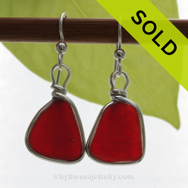 Rare Ruby Red Real Sea Glass Earrings In Solid Sterling Original Wire Bezel©