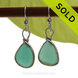 Genuine Deep Teal Green Genuine Sea Glass Earrings in our Original Wire Bezel is Solid Sterling Silver. SOLD - Sorry these Rare Sea Glass Earrings are NO LONGER AVAILABLE!