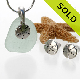 Perfect piece of Natural Seafoam Green sea glass from Puerto Rico combined with Solid Sterling Sandollar charms for a great beachy looking Sea Glass Necklace. SOLD - Sorry this Sea Glass Jewelry Selection is NO LONGER AVAILABLE!