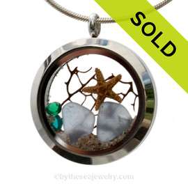 3 Months By The Sea - Light Blue Genuine Sea Glass, a Starfish with Vivid Crystals Gems in a Stainless Steel Locket