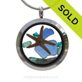 Genuine Cobalt Blue and Aqua sea glass pieces combined with a Real Starfish and Crystal Turquoise gem in a premium Stainless Steel Twist Top Locket. SOLD - Sorry this Sea Glass Locket is NO LONGER AVAILABLE!