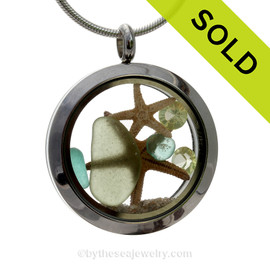 Genuine Pale Peridot Green and Aqua Sea Glass, Two Starfish with Peridot Gems in a Stainless Steel Locket