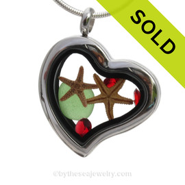 Christmas Beachlover - Genuine Green Sea Glass, Starfish & Ruby Gems  - Heart Locket