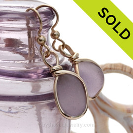 Beautiful amethyst or Lavender Genuine Sea Glass earrings set in our Original Wire Bezel© in 14K Rolled Gold. SOLD - Sorry these Rare Sea Glass Earrings are NO LONGER AVAILABLE!