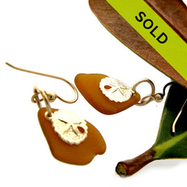 Sea Charmed - Bright Amber Sea Glass W/ Sandollars