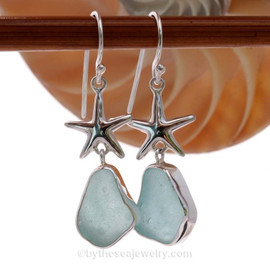 Limited Edition - Classically Set Aqua Blue Sea Glass Earrings In Sterling With Starfish