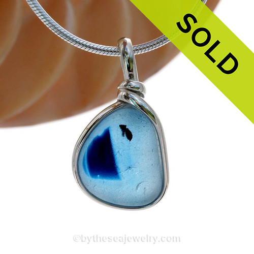 This is a smaller Rich Blue Mixed English Multi sea glass set for a necklace in our Original Sea Glass Bezel© in solid sterling silver setting. SOLD - Sorry this Sea Glass Jewelry Selection is NO LONGER AVAILABLE!