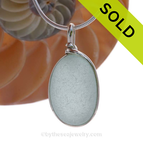 This is a beautiful Pale Aqua Green  Sea Glass set in our Original Wire Bezel© pendant setting in Sterling Silver . SOLD - Sorry this Sea Glass Pendant is NO LONGER AVAILABLE!
