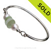 White and Seafoam Green Sea Glass pieces on this Solid Sterling Silver Full round Sea Glass Bangle Bracelet with real Cultured Freshwater Pearls, SOLD - Sorry this Sea Glass Bangle Bracelet is NO LONGER AVAILABLE!