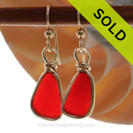 P-E-R-F-E-C-T Petite Bright Ruby Red Genuine Sea Glass in our Original Wire Bezel© earring setting lets all the color of these beautiful gold set beach found sea glass pieces shine!