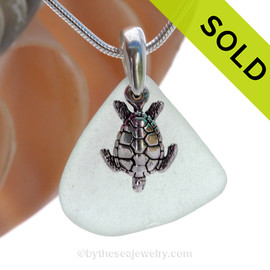 "Pale Seafoam Green Sea Glass With Sterling Silver Sea Turtle Charm - 18"" STERLING CHAIN INCLUDED SOLD - Sorry this Sea Glass Locket is NO LONGER AVAILABLE!"