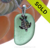 "Vivid Bright Teal Green Sea Glass With Sterling Silver Sea Turtle Charm - 18"" STERLING CHAIN INCLUDED"