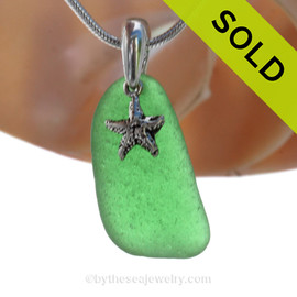 Genuine VIVID Green Sea Glass Necklace with Beach found sea glass and solid sterling details and Solid Sterling Silver Snake chain. SOLD - Sorry this Sea Glass Necklace is NO LONGER AVAILABLE!