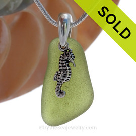 """Green VIVID Peridot Green Genuine Sea Glass Necklace with Solid Sterling Silver Seahorse  Charm - 18"""" Solid Sterling Chain INCLUDED. SOLD - Sorry this Sea Glass Necklace is NO LONGER AVAILABLE!"""