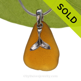 """Large Amber Sea Glass Necklace with Sterling Silver Cetacean Tail Charm - 18"""" Solid Sterling Chain INCLUDED"""