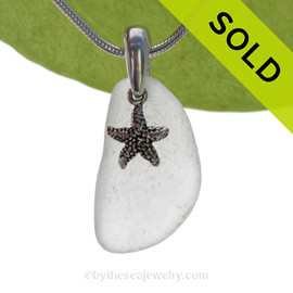Pure Bright White Sea Glass Necklace with Beach found sea glass and solid sterling silver starfish charm and Solid Sterling Silver Snake chain.