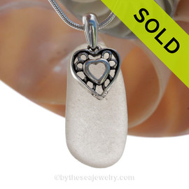 White Sea Glass Necklace with Beach found sea glass and solid sterling silver Hearts in Hearts charm and Solid Sterling Silver Snake chain. SOLD - Sorry this Sea Glass Necklace is NO LONGER AVAILABLE!