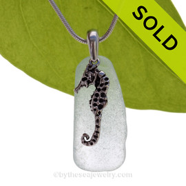 A perfect oblong piece of Seafoam Green sea glass is combined with a solid sterling LARGE Seahorse charm and presented on an 18 Inch solid sterling snake necklace chain. SOLD - Sorry this Sea Glass Necklace is NO LONGER AVAILABLE!