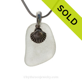 """White Sea Glass Necklace with Sterling Silver Sea Shell Charm - 18"""" Solid Sterling Chain INCLUDED"""