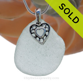 """LARGE Pale Aqua Green Sea Glass Necklace with Sterling Silver Heart In Heart Charm - 18"""" Solid Sterling Chain INCLUDED"""