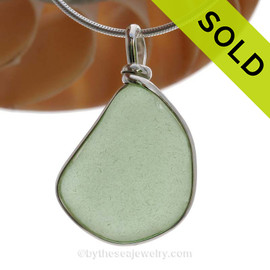 This is a beautiful and Large Yellowy Seafoam Green Genuine Sea Glass Pendant in our Original Wire Bezel© setting in Solid Sterling Silver . SOLD - Sorry this Sea Glass Pendant is NO LONGER AVAILABLE!