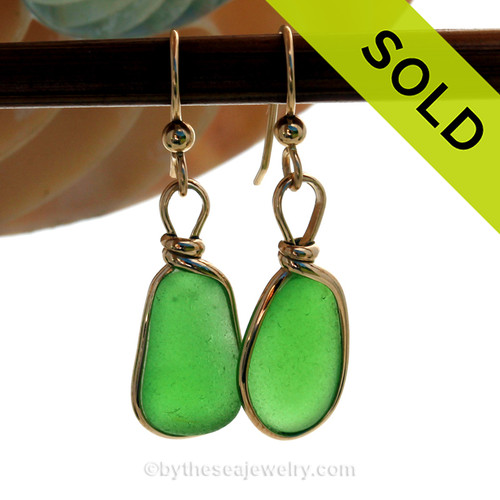 Natural Genuine UNALTERED sea glass pieces in a Vivid Lime  wrapped in 14K Rolled Gold for a lovely classic pair or earrings!