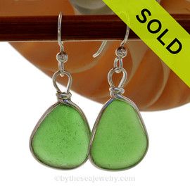 Larger Perfectly matched Vivid green beach found Sea Glass Earrings set in our signature Original Wire Bezel© setting in silver. SOLD - Sorry these Sea Glass Earrings are NO LONGER AVAILABLE!