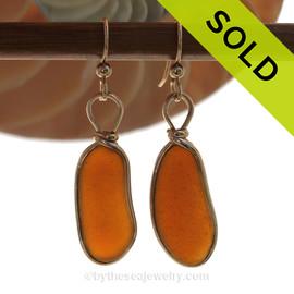 Longer & Larger VIVID Amber Brown Genuine Sea Glass Earrings In14K G/F Original Wire Bezel©