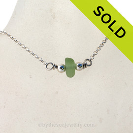Simple petite Green Sea Glass on a small Rolo chain with Dolphin clasp. SOLD - Sorry this Sea Glass Necklace is NO LONGER AVAILABLE!