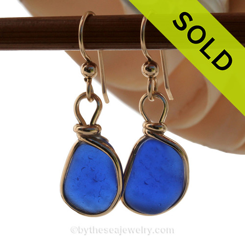 Genuine Beach Found Cobalt Blue Sea Glass Earrings In Gold Original Wire Bezel©