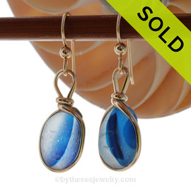 ULTRA RARE Mixed Teal Blue Genuine English Sea Glass In 14K G/F Original Wire Bezel©