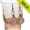 Beautiful Perfect peach sea glass pieces from a beach in Seaham England are set in our signature sterling silver Original Wire Bezel© setting. SOLD - Sorry these Rare Sea Glass Earrings are NO LONGER AVAILABLE!