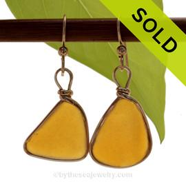 VIVID Topaz Golden Amber Brown Genuine Sea Glass Earrings In14K G/F Original Wire Bezel©