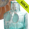 Long large and thick VIVID Aqua Blue Sea Glass Earrings in our Original Wire Bezel© in sterling silver