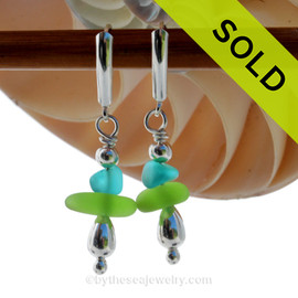 Vivid Lime or Chartreuse Green Sea Glass Earrings with Electric Aqua in sterling silver on Leverbacks SOLD - Sorry these Rare Sea Glass Earrings are NO LONGER AVAILABLE!