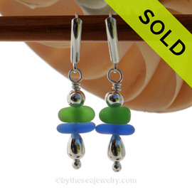 Vivid thick Green and a lovely medium Blue Sea Glass Earrings with Silver beads in sterling silver on Leverbacks. SOLD - Sorry these Rare Sea Glass Earrings are NO LONGER AVAILABLE!