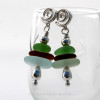 A stunning stacked Sea Glass Earring pair on Silver Swirl Posts