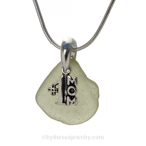 Pale Peridot Green Sea Glass Necklace with Beach found sea glass and sterling #1 Mom Charm  and Solid Sterling Silver Snake chain.