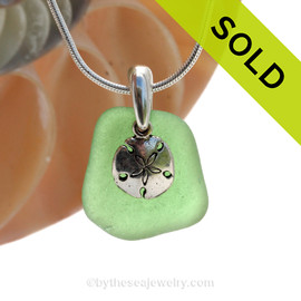 Vivid Genuine Green Sea Glass With Sterling Silver Sandollar Charm. SOLD - Sorry this Sea Glass Necklace is NO LONGER AVAILABLE!