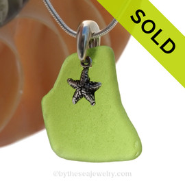 VIVID Large Lime Green Sea Glass Necklace with Beach found sea glass and solid sterling Starfish Charm and Solid Sterling Silver Snake chain.