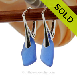 Nice longer Genuine Cobalt Blue  Beach Found Sea Glass Earrings on Sterling Leverback Earrings.