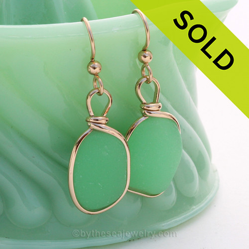 ULTRA ULTRA RARE UV JADEITE GREEN SEA GLASS EARRINGS. Our original Wire Bezel ©2000 Setting lets all the beauty of these beauties shine in an elegant classic setting!  SOLD - Sorry this Sea Glass Jewelry Selection is NO LONGER AVAILABLE!