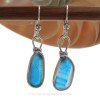 Stunning Electric Aqua Stripped Mixed Sea Glass Earrings in our Original Wire Bezel in Solid Sterling Silver.