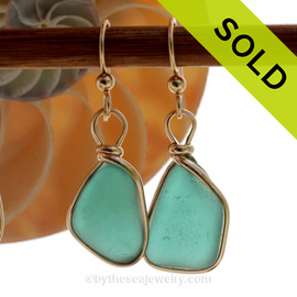 Natural Genuine UNALTERED sea glass pieces in a Vivid Turquoise or Deep Aqua Green wrapped in 14K Rolled Gold for a lovely classic pair or earrings