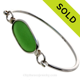 P-E-R-F-E-C-T Genuine Green Sea Glass Bangle Bracelet set in Sterling Silver in our Deluxe Wire Bezel© setting. SOLD - Sorry this Sea Glass Bangle Bracelet is NO LONGER AVAILABLE!